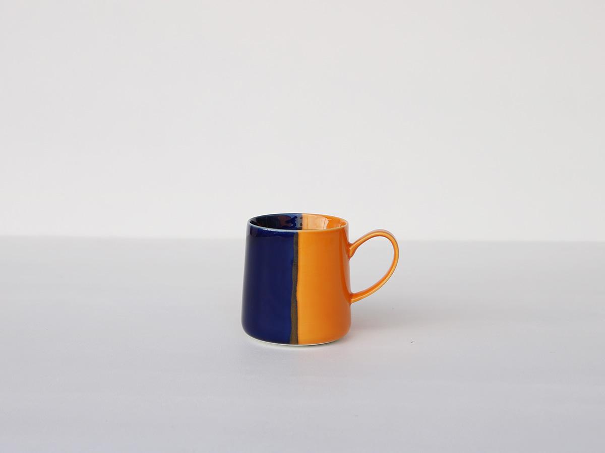 【バレンタインまでにお届け! 予約販売】】色釉 ブルー×オレンジ マグカップ 波佐見焼